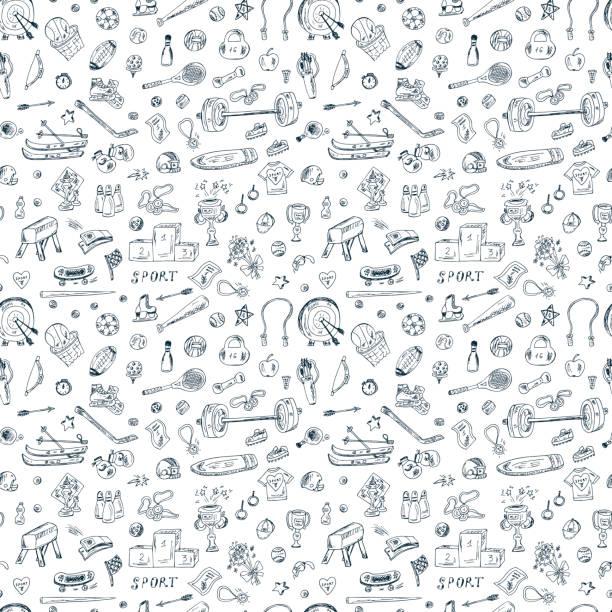 Sports. Seamless pattern of sports equipment. Hand Drawn Doodles illustration. vector art illustration