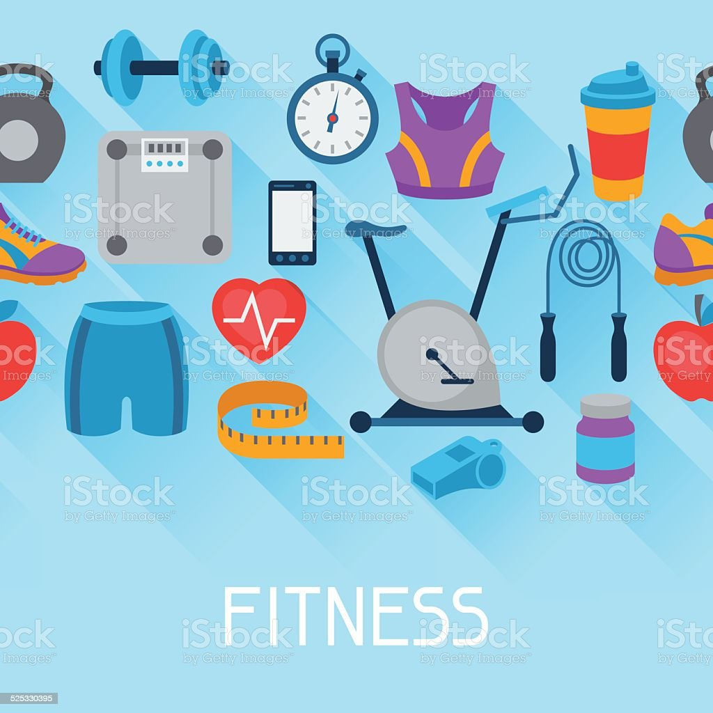 Sports seamless pattern with fitness icons in flat style. vector art illustration
