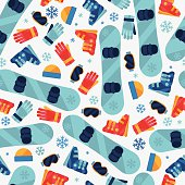 Sports seamless pattern with snowboard equipment flat icons.