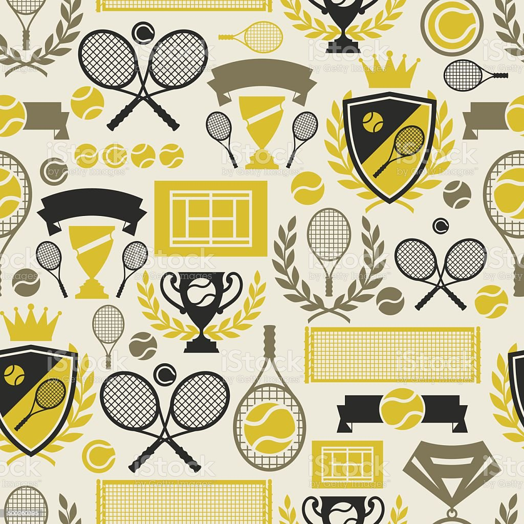 Sports seamless pattern with tennis icons in flat design style. vector art illustration