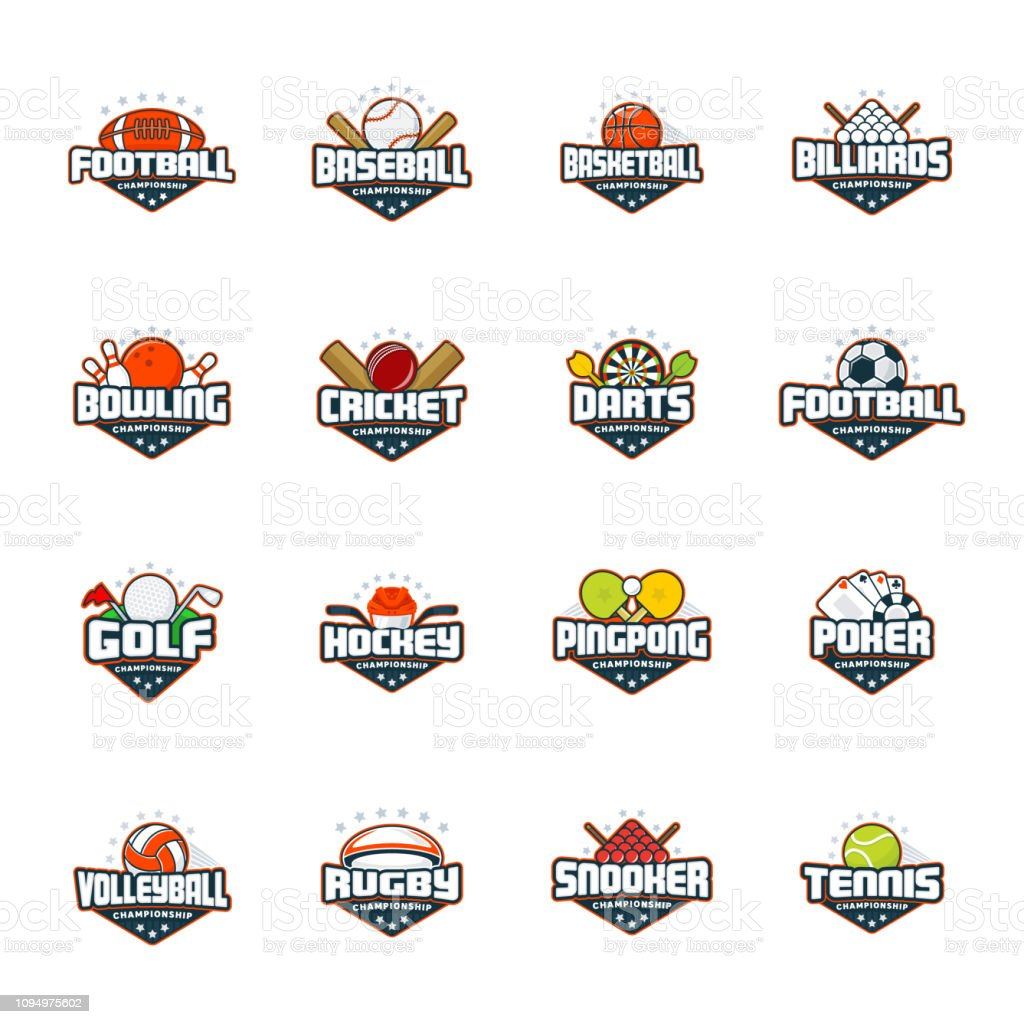 Sports logo set. Football, baseball, basketball, billiards, bowling, cricket, darts, golf, hockey, ping pong, poker, volleyball, rugby, snooker, tennis. Vector isolated colorful sport badges royalty-free sports logo set football baseball basketball billiards bowling cricket darts golf hockey ping pong poker volleyball rugby snooker tennis vector isolated colorful sport badges stock illustration - download image now