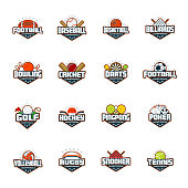 Sports set. Football, baseball, basketball, billiards, bowling, cricket, darts, golf, hockey ping pong poker volleyball rugby snooker tennis Vector isolated colorful sport badges