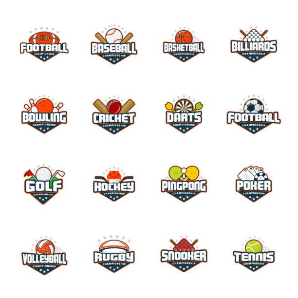 ilustrações, clipart, desenhos animados e ícones de logotipo conjunto de esportes. futebol, beisebol, basquetebol, bilhar, boliche, grilo, dardos, golfe, hóquei, ping-pong, poker, vôlei, rúgbi, sinuca, tênis. vector isolado colorido sport emblemas - equipe esportiva