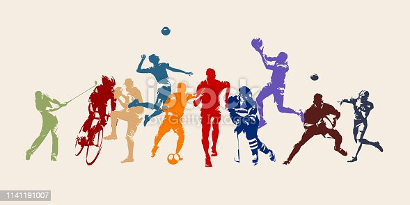 istock Sports, set of athletes of various sports disciplines. Isolated vector silhouettes. Run, soccer, hockey, volleyball, basketball, rugby, baseball, american football, cycling, golf 1141191007