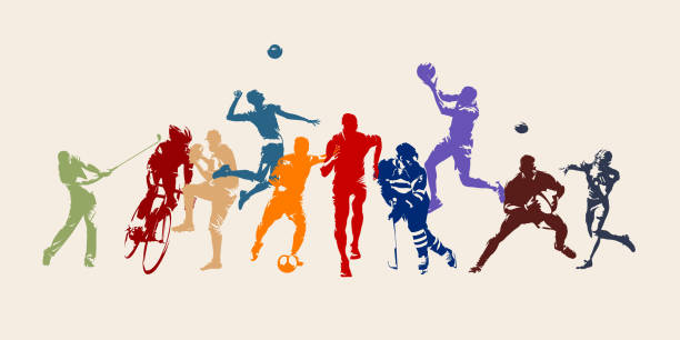 stockillustraties, clipart, cartoons en iconen met sport, set van atleten van verschillende sportdisciplines. geïsoleerde vector silhouetten. rennen, voetbal, hockey, volleybal, basketbal, rugby, honkbal, american football, fietsen, golf - atleet