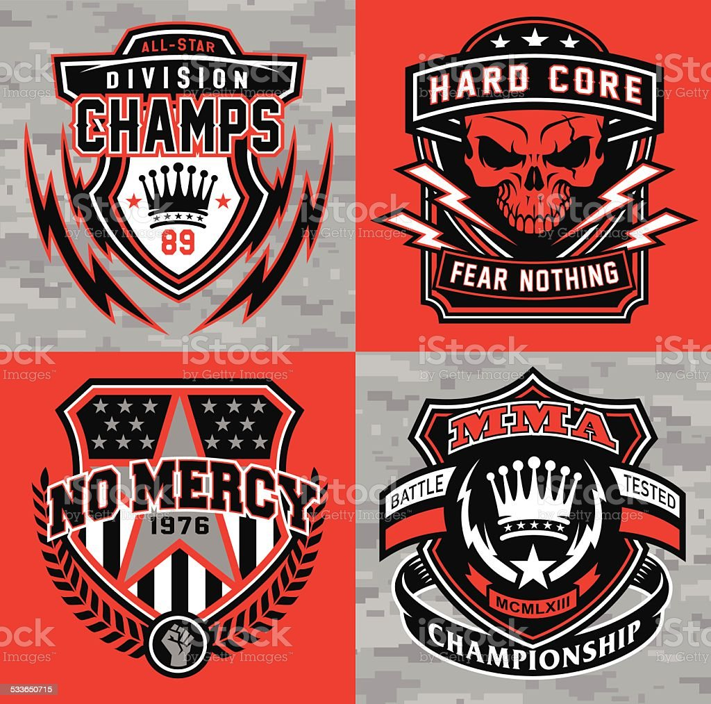 Protector deportivo conjunto de emblema de gráfico - ilustración de arte vectorial