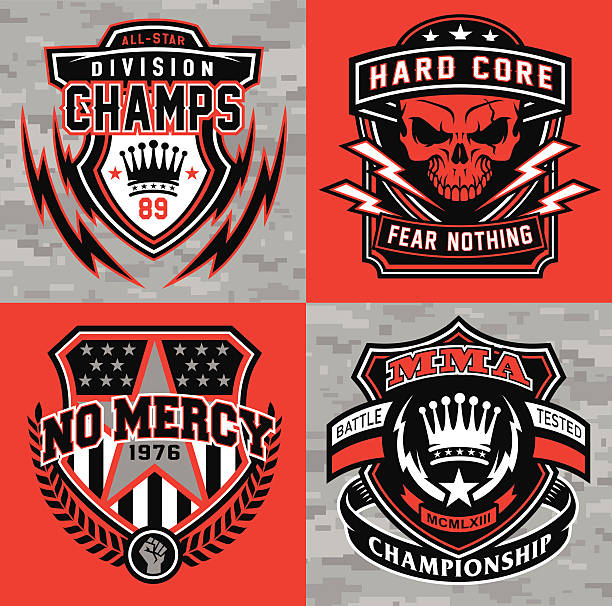 sports shield emblem graphic set - martial arts stock illustrations