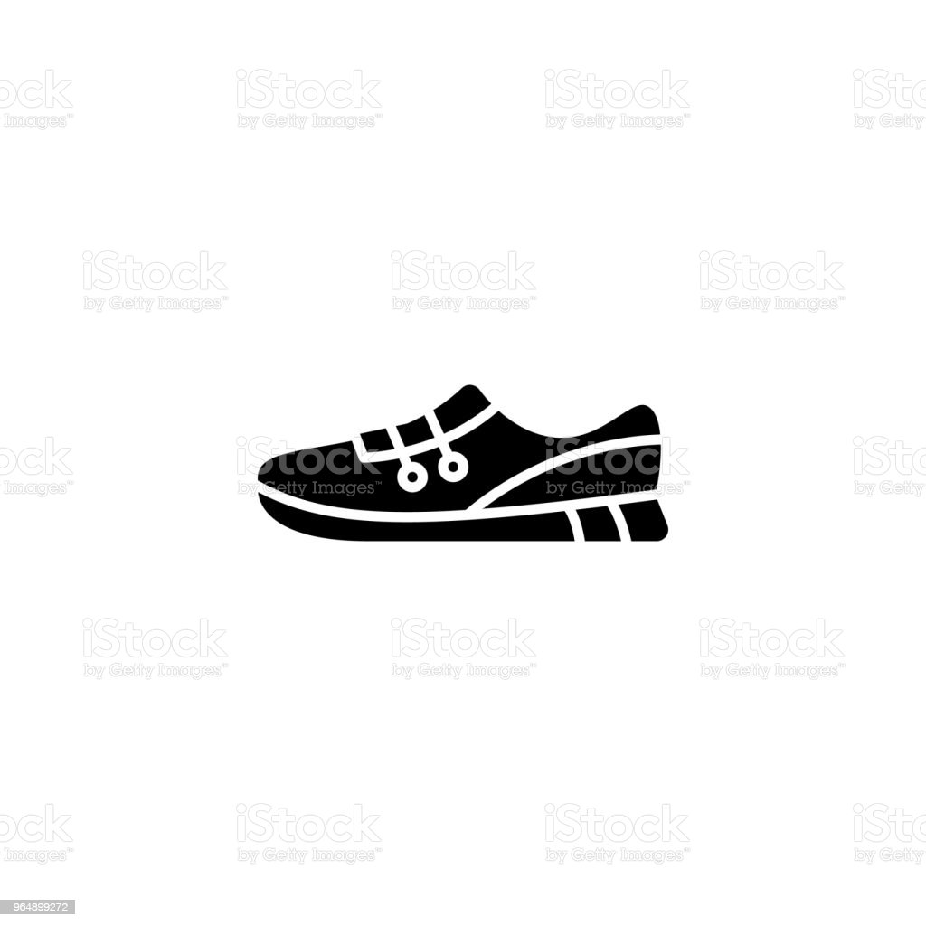 Sports shoes black icon concept. Sports shoes flat  vector symbol, sign, illustration. royalty-free sports shoes black icon concept sports shoes flat vector symbol sign illustration stock vector art & more images of athlete