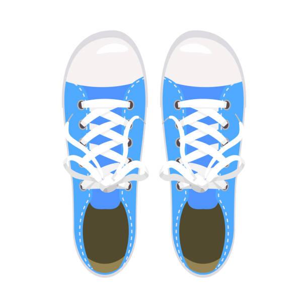 sportschuhe, turnschuhe, keds, blau, für sport und im alltag, mode, vektor, abbildung, isoliert - keds stock-grafiken, -clipart, -cartoons und -symbole