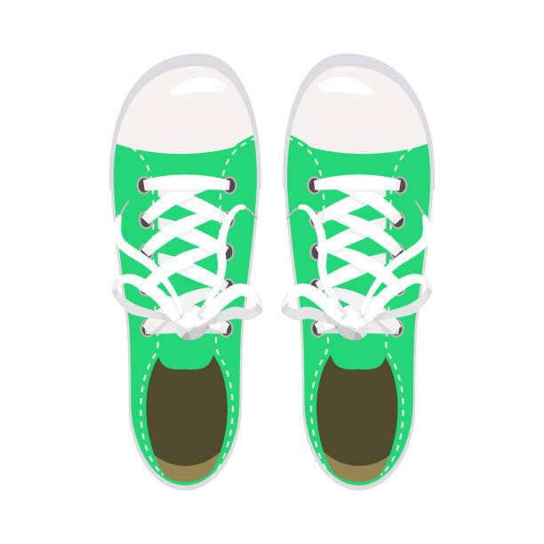 sportschuhe, turnschuhe, keds, grüne farben, für sport und im alltag, mode, vektor, abbildung, isoliert - keds stock-grafiken, -clipart, -cartoons und -symbole