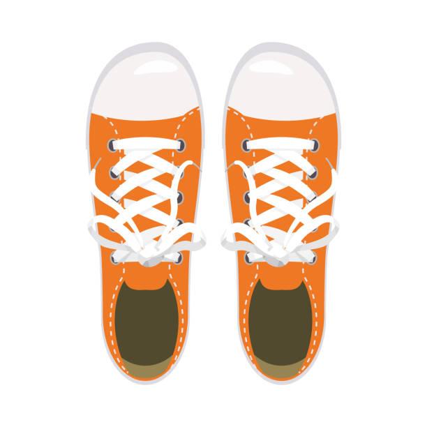 sportschuhe, turnschuhe, keds, orange farben, für sport und im alltag, mode, vektor, abbildung, isoliert - keds stock-grafiken, -clipart, -cartoons und -symbole