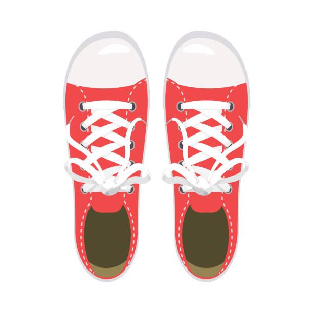sportschuhe, turnschuhe, keds, roten farben, für sport und im alltag, mode, vektor, abbildung, isoliert - keds stock-grafiken, -clipart, -cartoons und -symbole