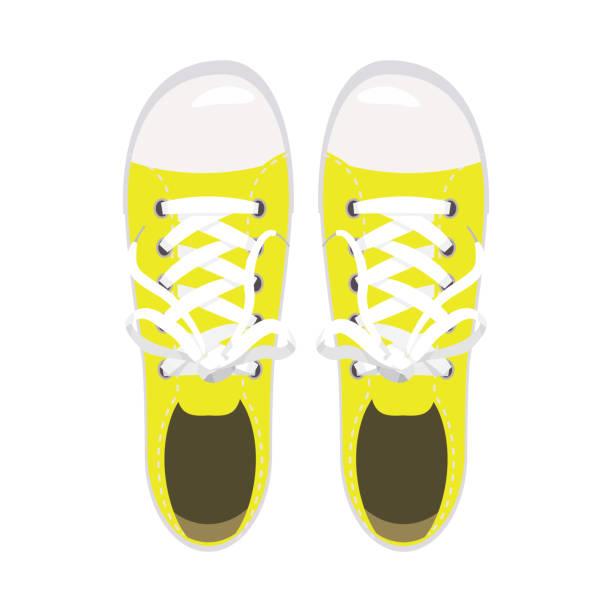 sportschuhe, turnschuhe, keds, gelbe farben, für sport und im alltag, mode, vektor, abbildung, isoliert - keds stock-grafiken, -clipart, -cartoons und -symbole
