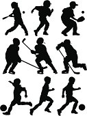 Baseball, Hockey and Soccer Silhouettes. Individual sports available below