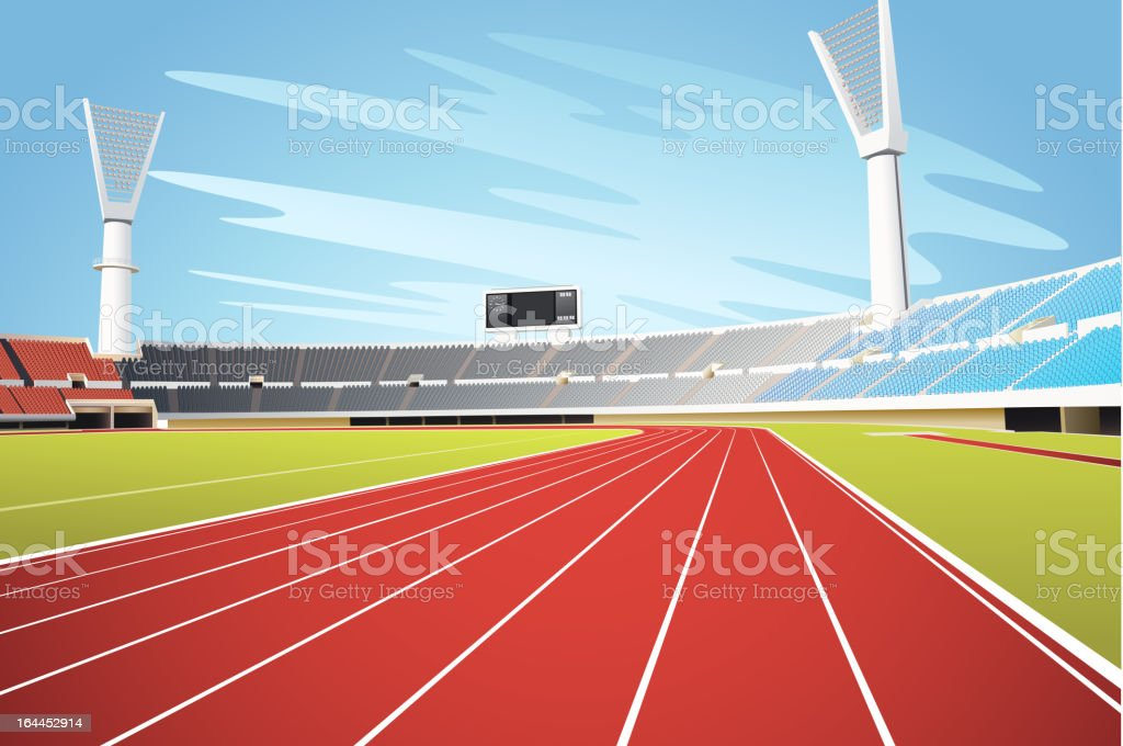 Sports stadium and running track vector art illustration