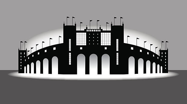 sports stadium - arena background - baseball stadium stock illustrations, clip art, cartoons, & icons