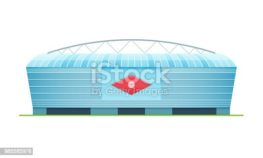 Beautiful modern sports stadium for football championship, sports arena. Exterior of the football stadium, side view. Open field with stands and awning. Vector illustration.