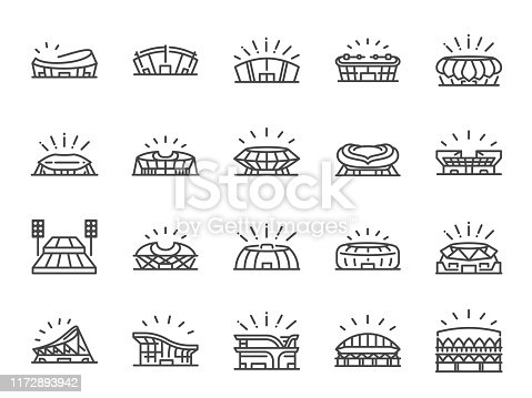 Sports stadium line icon set. Included icons as football arena, colosseum, competition stadium and more.