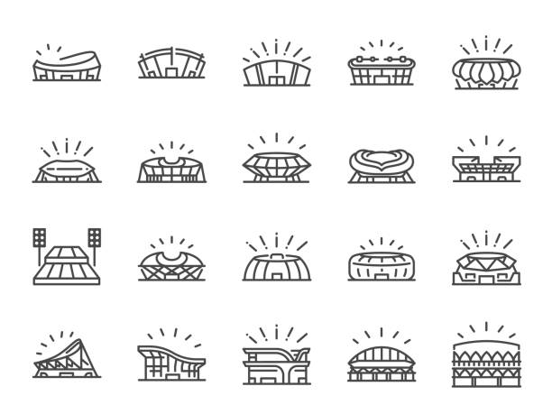 Sports stadium line icon set. Included icons as football arena, colosseum, competition stadium and more. Sports stadium line icon set. Included icons as football arena, colosseum, competition stadium and more. stadium stock illustrations