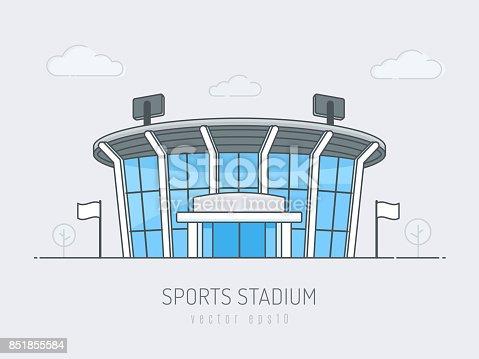 Sports stadium arena vector illustration in line art simple flat style