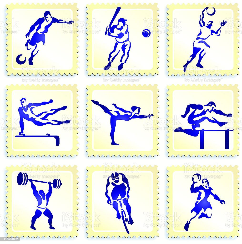 Olympic sports stamp and button collection royalty-free stock vector art