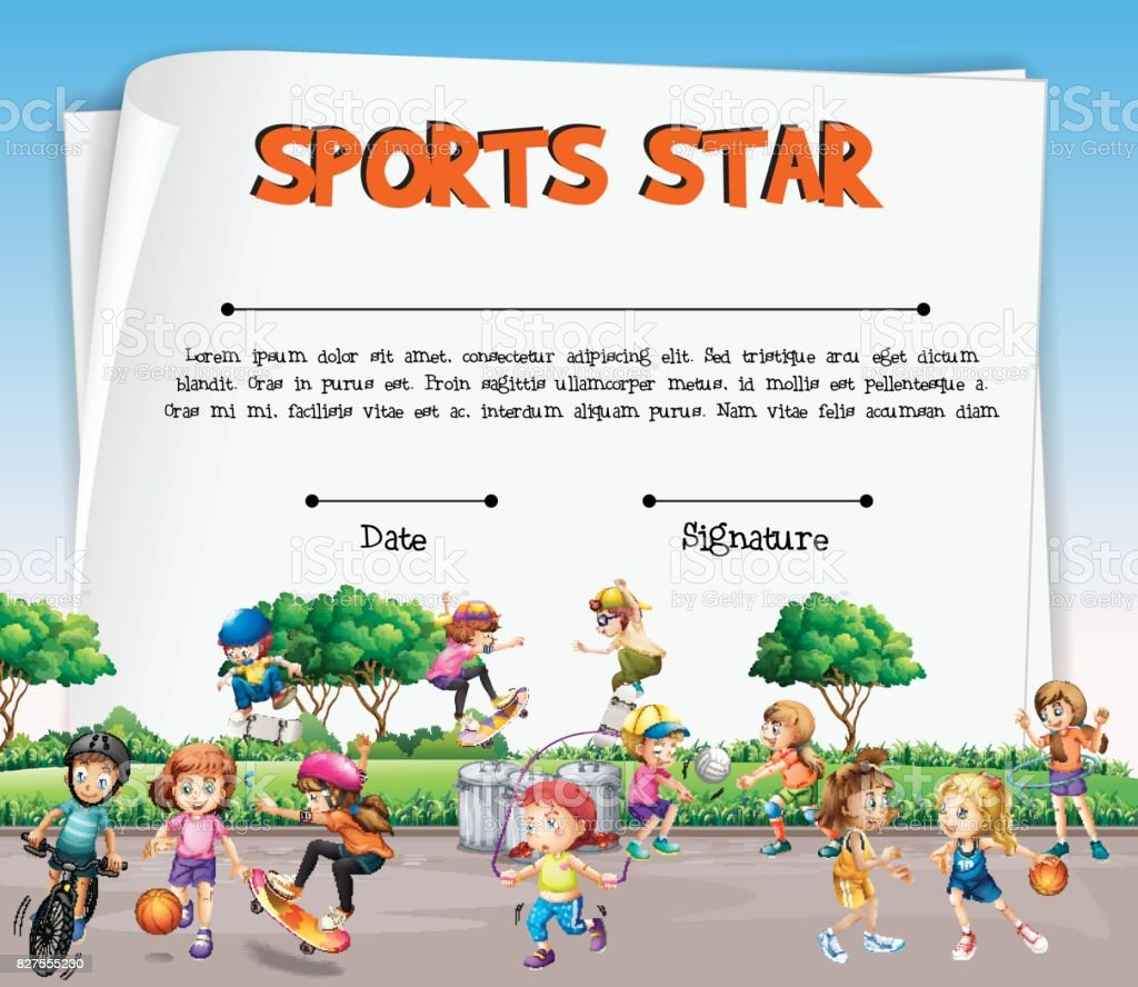 Sports Star Certificate Template With Kids Playing Sports Stock