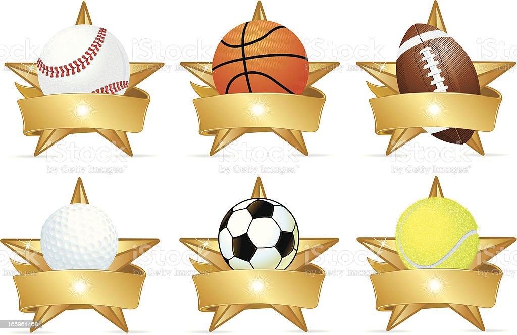 Sports Stars, Football, Baseball, Basketball, Golf, Soccer vector art illustration