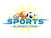 Sports Summer Camp concept with different Sports Balls and the sun. Vector illustration.