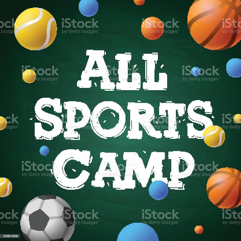 Sports summer training camp, themed poster, sports games vector art illustration