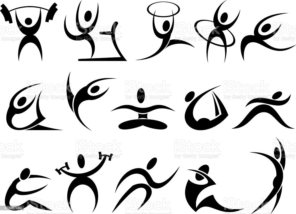Sports Symbols Stock Vector Art More Images Of Adult 473067494