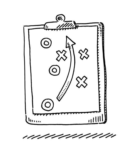 Sports Tactics Clipboard Symbol Drawing vector art illustration