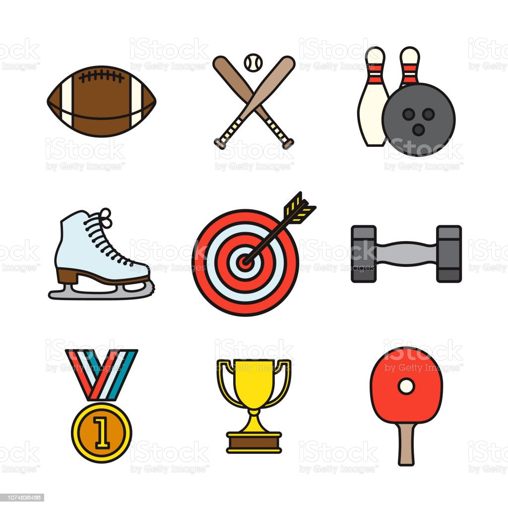 Sports Thin Line Icon Set vector art illustration
