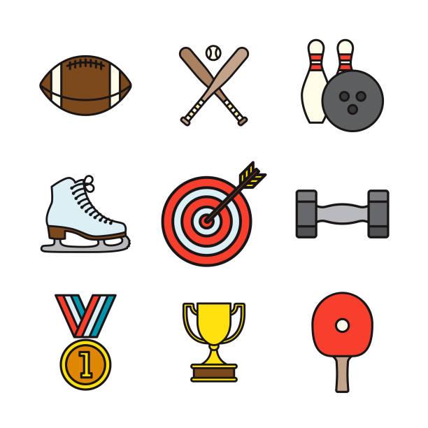 sports thin line icon set - thin line fonts stock illustrations