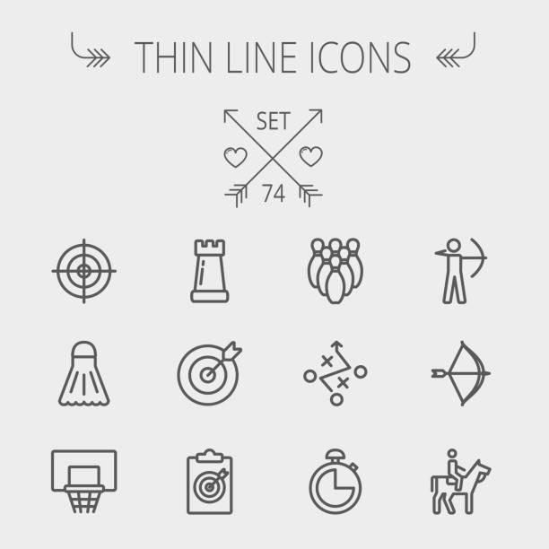 スポーツの細い線アイコンを設定します - 乗馬点のイラスト素材/クリップアート素材/マンガ素材/アイコン素材