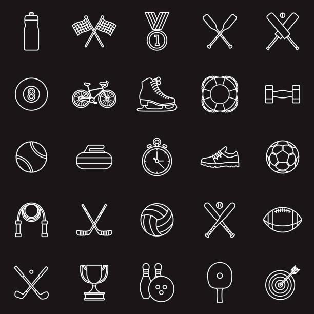 sport-dünne linie-gliederung-icon-set - cricket stock-grafiken, -clipart, -cartoons und -symbole