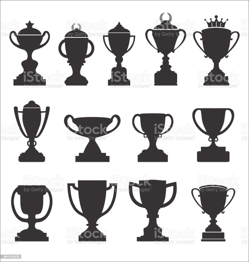 Sports trophies and awards retro black collection royalty-free sports trophies and awards retro black collection stock vector art & more images of achievement