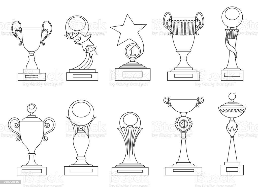 Spor Kupa Ve ödülleri Siluetleri Böyle Logo Tasarımı Için Ayarlayın