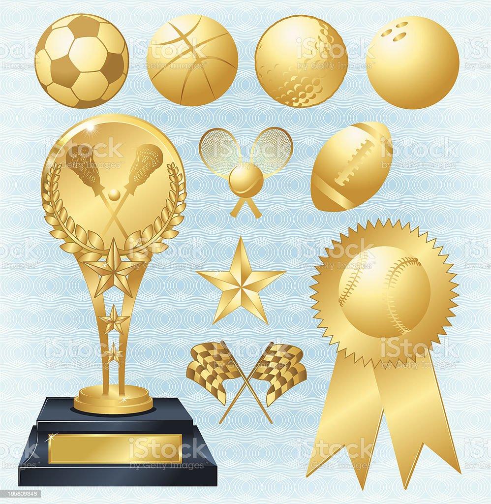 Sports Trophy and Award Ribbon - baseball, football royalty-free stock vector art