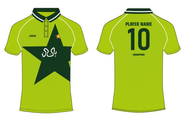 stockillustraties, clipart, cartoons en iconen met sport t-shirt jersey design vector sjabloon, sport jersey concept met voor-en achterkant uitzicht voor voetbal trui, cricket jersey, voetbalshirt, volleybal jersey, rugby jersey. pakistan cricket jersey design concept - 1990 1999