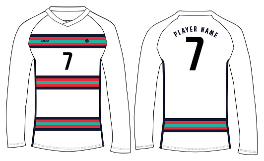 Sports t-shirt jersey design vector template, sports jersey concept with front and back view for Soccer jersey, Cricket jersey, Football jersey, Volleyball jersey, Rugby Jersey. UEFA Portugal soccer jersey design concept 2020