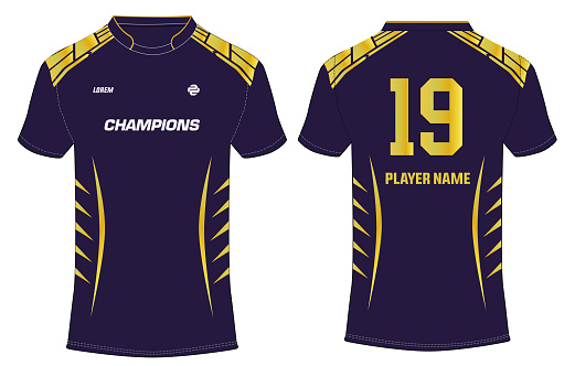 Sports t-shirt jersey design vector template, sports jersey with front and back view for Soccer, Cricket, Football. PSL - Pakistan Super  League Jersey Concept. Quetta Gladiators Jersey design Concept