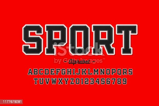 Sports uniform style font, alphabet letters and numbers, vector illustration