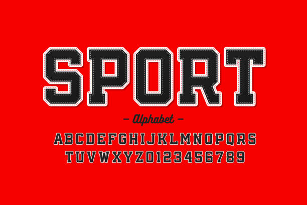 Sports uniform style font Sports uniform style font, alphabet letters and numbers, vector illustration american football sport stock illustrations