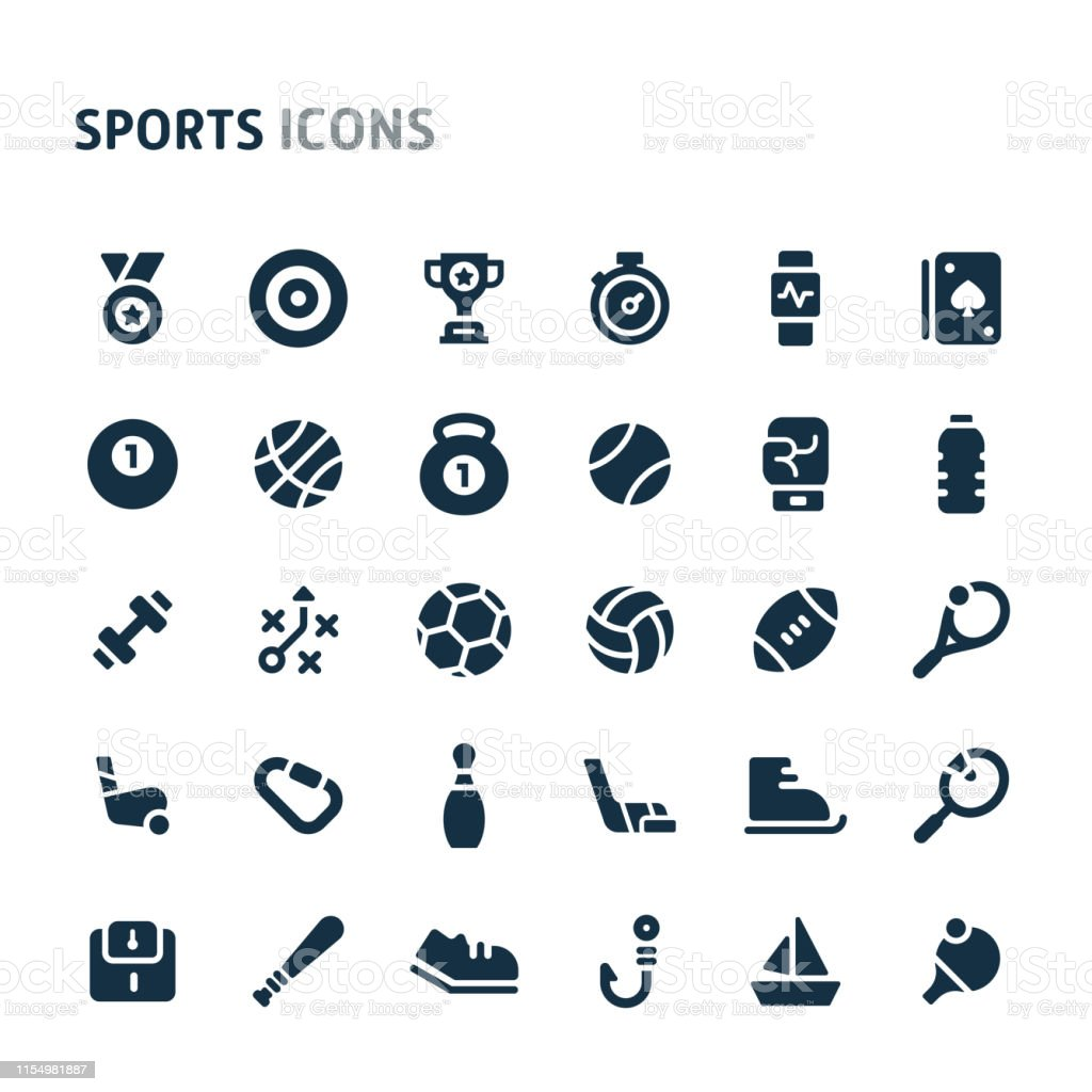 Simple bold vector icons related to sports. Symbols such as sport...