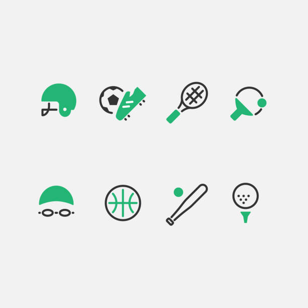 Sports Mint green sports icons. swimming goggles stock illustrations