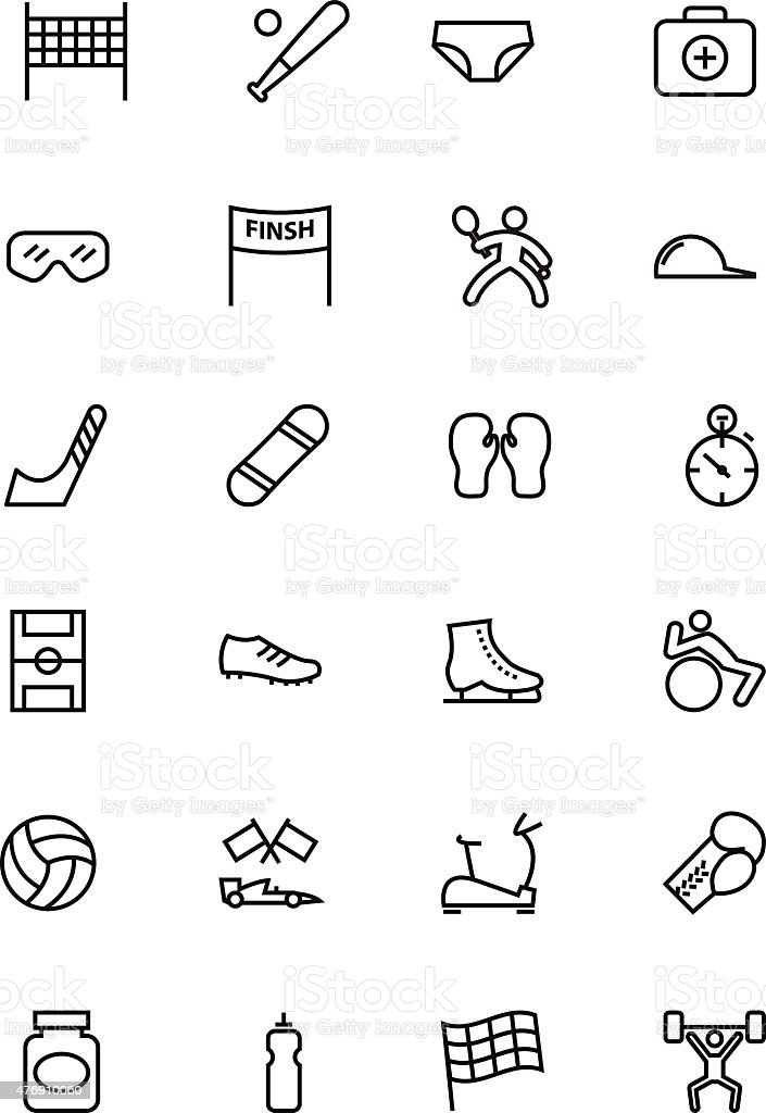 Sports Vector Line Icons 3 vector art illustration