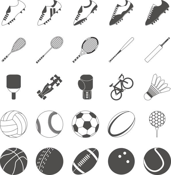 Sports Vector Pack for Symbols and Icons Sports Vectors for various popular sports such as football, rugby, soccer, tennis, badminton, racing, table tennis, squash, baseball, cricket, boxing, golf and bowling. racket stock illustrations