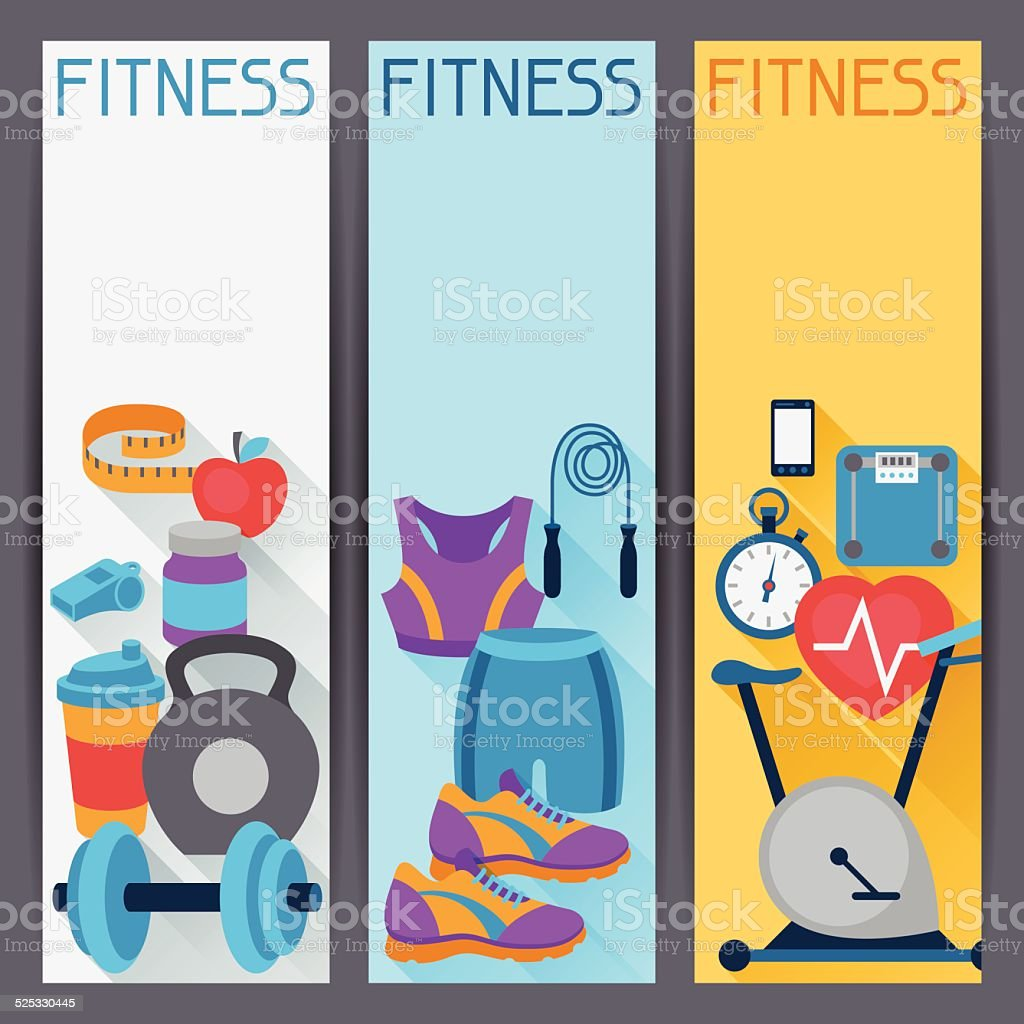 Sports vertical banners with fitness icons in flat style. vector art illustration