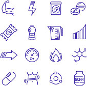 Sports vitamins and food supplements thin line vector icons. Fat burning pills and energy drinks pictograms