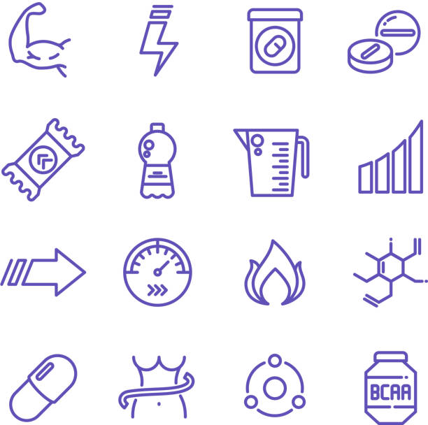Sports vitamins and food supplements thin line vector icons. Fat burning pills and energy drinks pictograms Sports vitamins and food supplements thin line vector icons. Fat burning pills and energy drinks pictograms. Sport vitamin nutrition for fitness and energy illustration amino acid stock illustrations